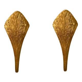 Pair of Bronze Sconces Nefertiti by Maison Charles. France, 1970s For Sale