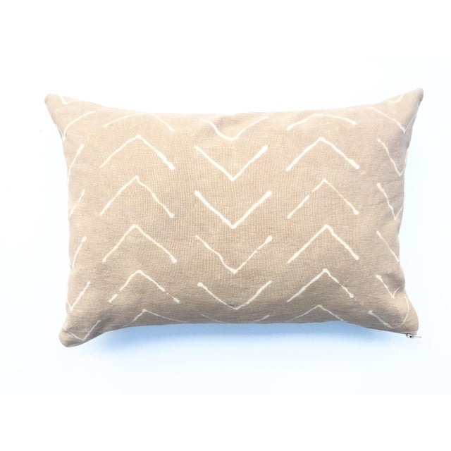 Hand-Dyed Beige Tribal Pillow Cover - Image 3 of 5