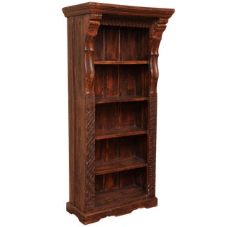 Tall Carved Wood Open Bookcase With Shelves From the Island of Java For Sale
