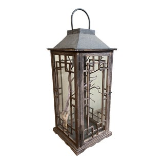 Metal + Wood Lantern With Branch For Sale
