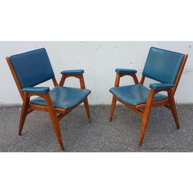 Vintage Gio Ponti Chairs in Teal Leather - Pair For Sale - Image 7 of 8