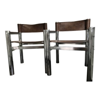 1960s Mid-Century Modern Chrome Director's Chairs - A Pair For Sale