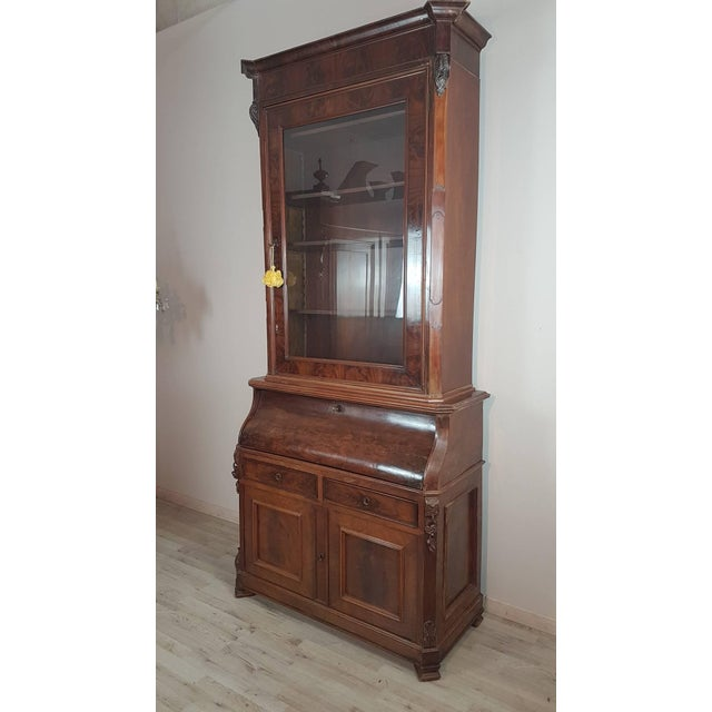 Late 19th Century 19th Century English Mahogany Wood Bookcase With Secretaire For Sale - Image 5 of 12