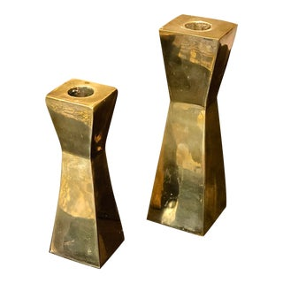 Mid 20th Century Brass Candle Holders - a Pair For Sale