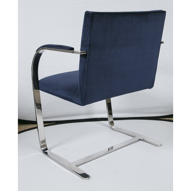 Ludwig Mies van der Rohe Brno Flat Bar Navy Velvet Chairs - S/6 For Sale - Image 4 of 9