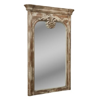 Gustavian Style Aged Gray Large Carved Wood Full Length Mirror For Sale