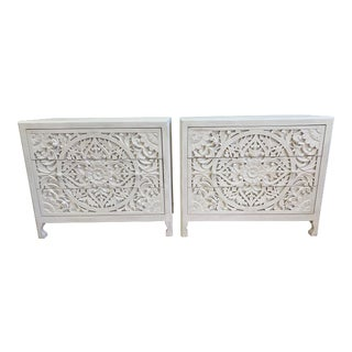 Anthropologie Lombark Three Drawer White Wash Dressers- a Pair For Sale