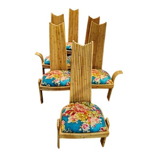 Missoni High Back Bamboo Dining Chairs - Set of 6 For Sale