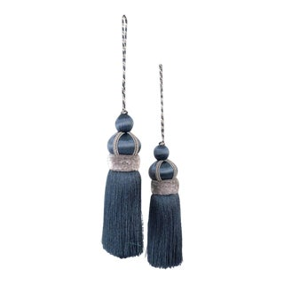 Blue Key Tassels With Cut Velvet Ruche - a Pair For Sale
