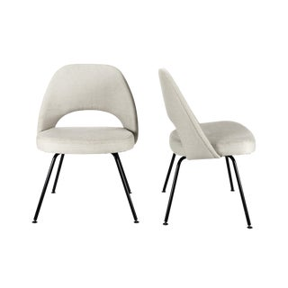 Mid-Century Modern Eero Saarinen for Knoll White Armless Side Chairs - a Pair