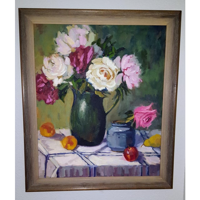 Floral Oil Painting on Canvas For Sale - Image 5 of 5