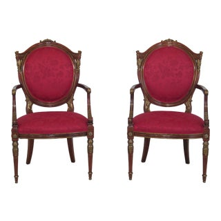Pair French Louis XVI Style Mahogany & Gold Arm Chairs For Sale