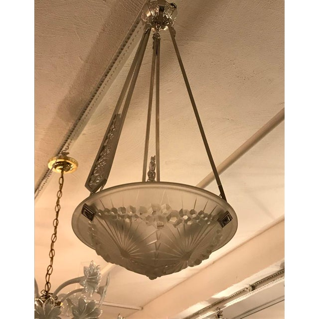 Art Deco French Art Deco Geometric Chandelier Signed by Schneider For Sale - Image 3 of 10