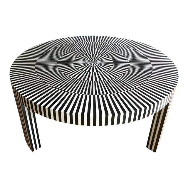 "Made Goods ""Carlatta"" Coffee Table Tessellated Black and White Resin For Sale"