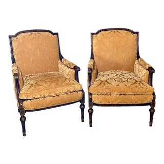 Pair of Jansen Style Fauteuils or Armchairs, Louis XVI Form With Velvet Fabric For Sale