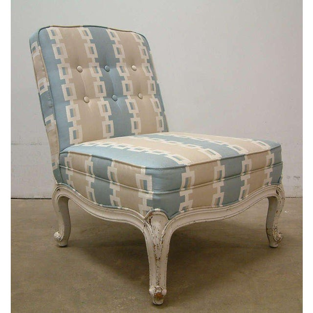 Circa 1950 French Provincial Drexel Blue, Cream and White With Anna French Cotton Twill Fabric Boudoir Chairs - a Pair - Image 6 of 11