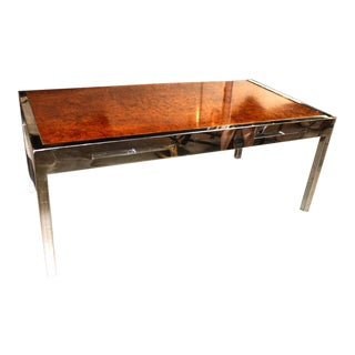 Burl Wood and Chrome Pace Collection Executive Desk