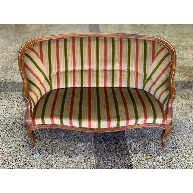 Red 19th Century Vintage Louis Philippe Walnut Settee For Sale - Image 8 of 8
