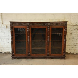 Antique Ornate Carved French Triple Bookcase Preview