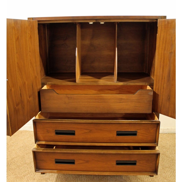1960s Mid-Century Danish Modern Drexel Walnut Tall Chest For Sale - Image 5 of 10
