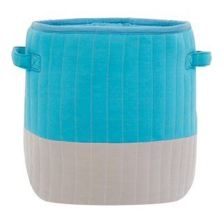 """Organic Cotton Mod Quilted Storage Basket Blue/Gray 