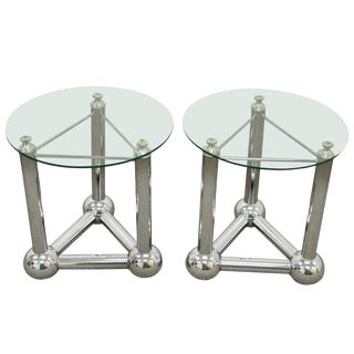 1970s Mid Century Modern Chrome Ball Orb Atomic Era Round Glass End Tables - a Pair For Sale