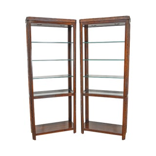 Chippendale Style Mahogany Tall Etagere Bookcases - A Pair