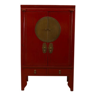Asian Chinese Style Red Lacquered 2 Door Armoire Cabinet For Sale