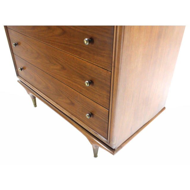 Early 20th Century Tall Walnut Chest of Drawers For Sale - Image 5 of 5