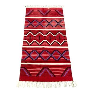 "Vintage Mohair Handwoven Wool Rug- 3' X 6'5"""