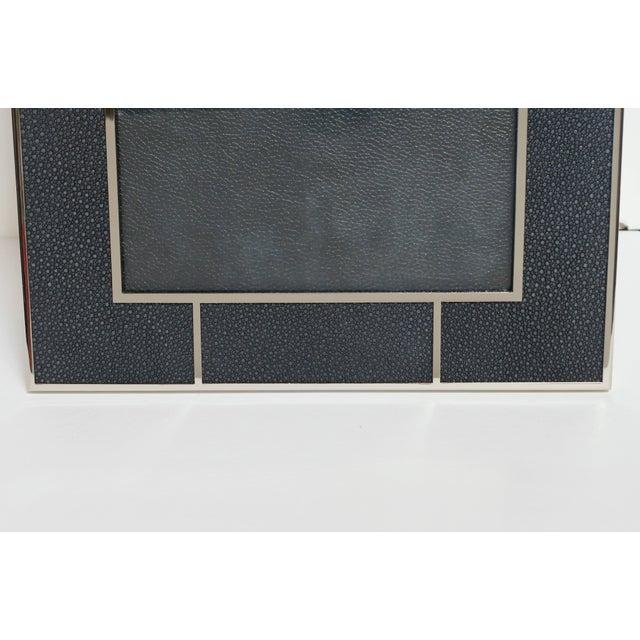 Fabio Ltd Black Shagreen Nickel-Plated Photo Frame by Fabio Ltd For Sale - Image 4 of 4