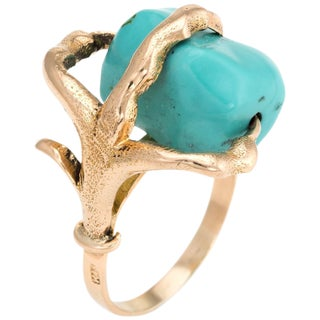 Vintage Dragon Claw Ring 14 Karat Yellow Gold Turquoise Orb Estate Fine Jewelry For Sale