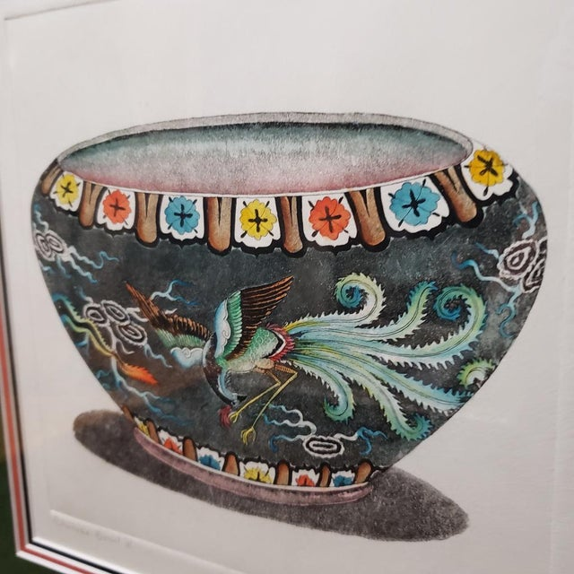 """Vintage """"Chinese Bowl Ii"""" Dan Mitra Frame Signed & Numbered Print For Sale - Image 6 of 8"""