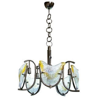 Italian Midcentury Mazzega/Murano Chandelier With Chrome Frame and Amber Glass For Sale