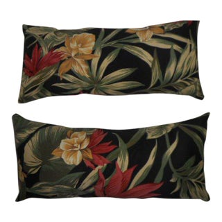 Tropical Palm & Orchid Bolster Pillows - a Pair