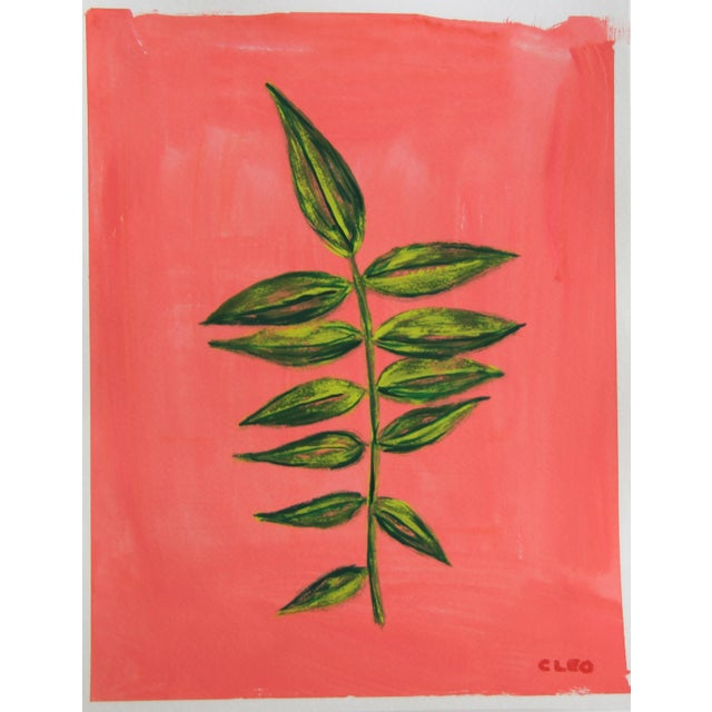 A spray of green bamboo and leaves on a lush, flamingo pink textured background, ready to add a touch of the tropics to...
