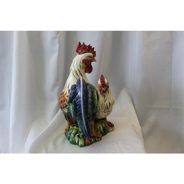 Vintage Italian Hand-Painted Ceramic Rooster & Hen For Sale In Dallas - Image 6 of 9