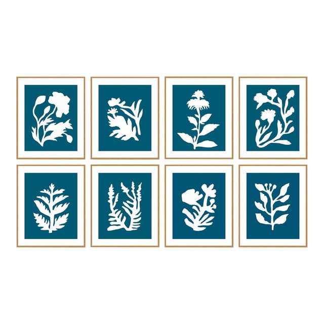 Danube Sunprints Set of 8 by Neicy Frey in Gold Frame, XS Art Print For Sale