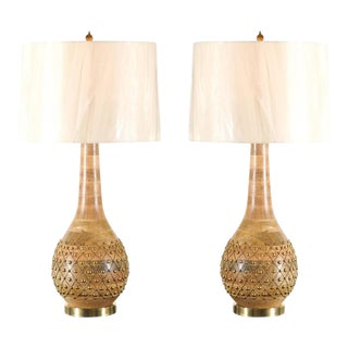 Exquisite Pair of Handmade Brass Studded Gourd Vessels as Custom Lamps For Sale