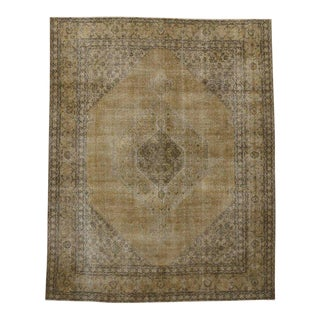 Antique Distressed Persian Tabriz Area Rug with Modern Industrial Style
