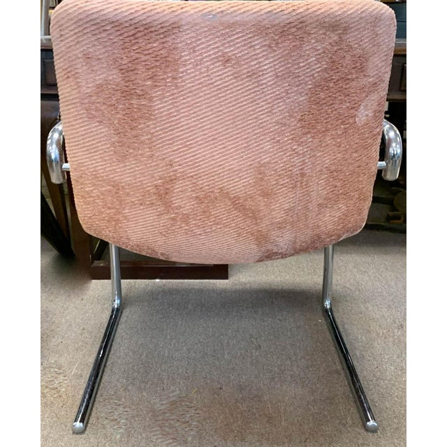 Mid 20th Century Mid Century Tubular Chrome Cantilevered Arm Chair in Pink For Sale - Image 5 of 6