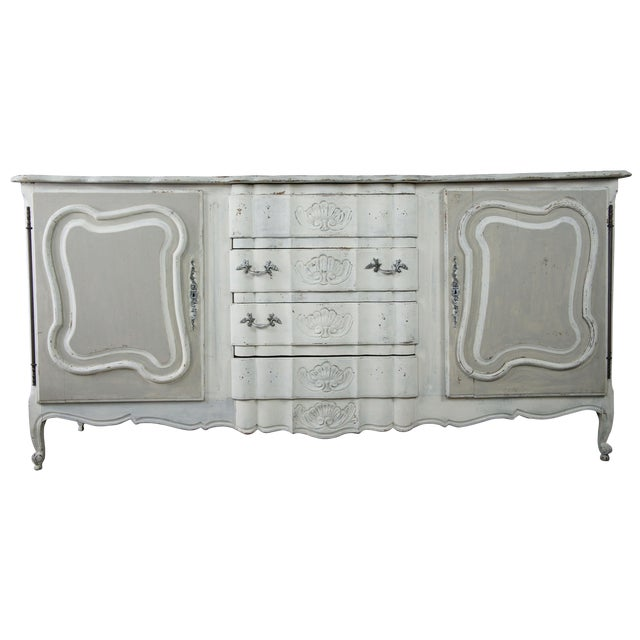 19th Century Antique French Country Provincial White Sideboard For Sale