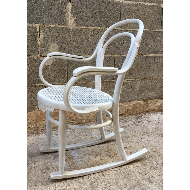 20th Century White Patina Bentwood Rocking Chair in Thonet Style For Sale - Image 10 of 10