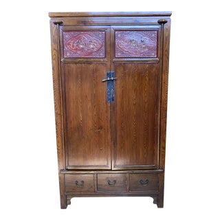 Vintage Asian Influenced Carved Wood Armoire For Sale