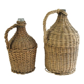 Antique French Demi-John Wicker Wrapped Glass Wine Jugs - a Pair For Sale
