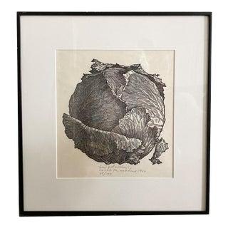 """Vintage 1964 Jacques Hnizdovsky Woodcut Print, """"Cabbage"""" For Sale"""