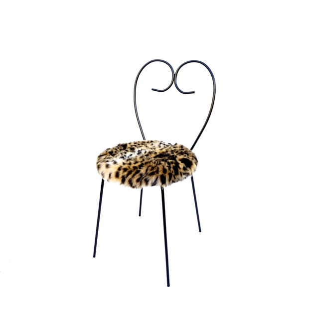 Mid-Century Heart Shaped Metal & Leopard Faux Fur Vanity Chair - Image 5 of 11