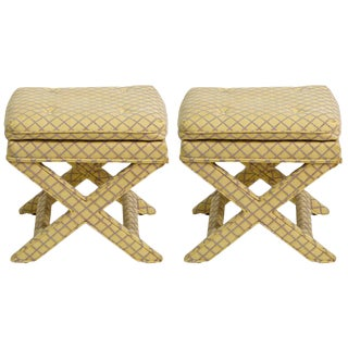 Pair of Billy Baldwin Style X-Benches For Sale