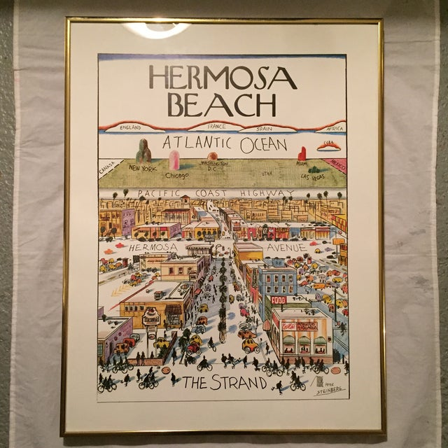 A fun vintage full color print of Hermosa Beach completed in the manner of artist Saul Steinberg's iconic illustration...