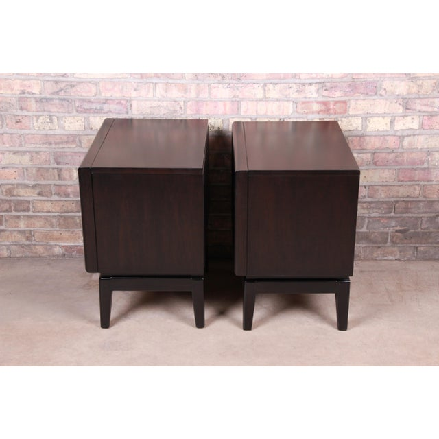 Mid-Century Modern Ebonized Sculpted Walnut Diamond Front Nightstands by United, Newly Refinished For Sale - Image 10 of 11
